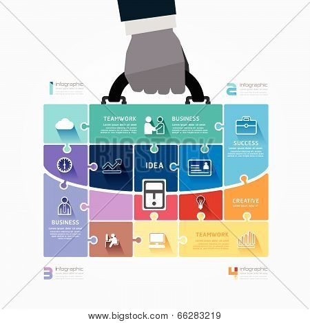 Infographic Template With Businessman Hand Hold Business Bag Jigsaw Banner