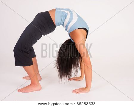 Beautiful Flexible Acrobatic Woman Arched Backwards Two Arm Stance