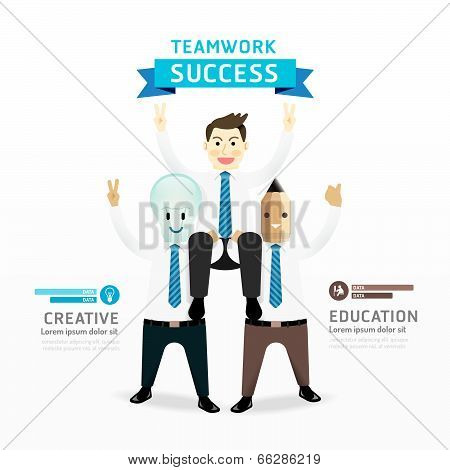 Teamwork Of Successful Businessman Cartoon Infographic Design Concept .with Lightbulb And Pencil Bus