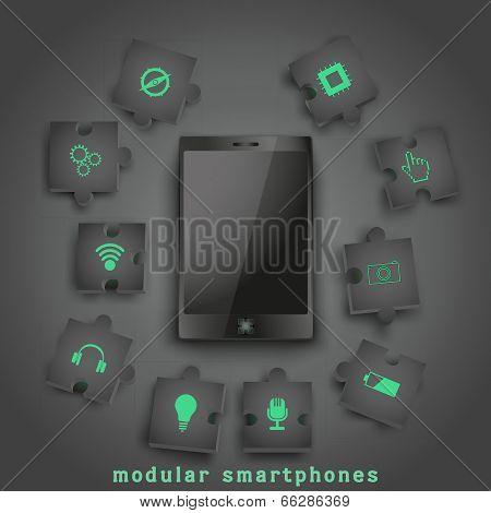 Concept of Modular smartphone. Background Illustation.