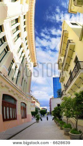 Vertical Panorama Of Havana Street, Cuba