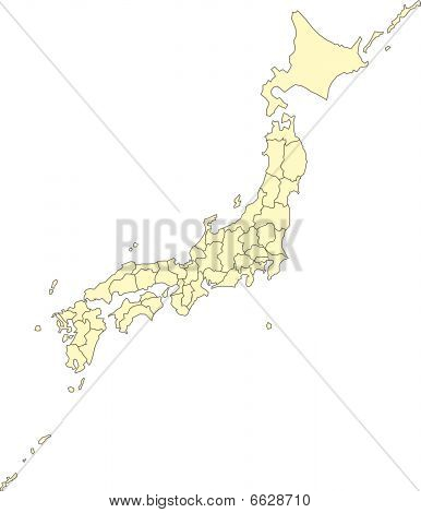 Japan with Administrative Districts
