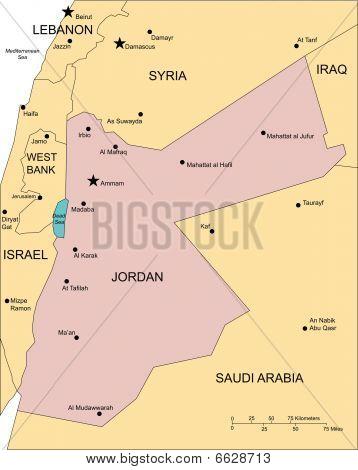 Jordan, Major Cities and Capital and Surrounding Countries