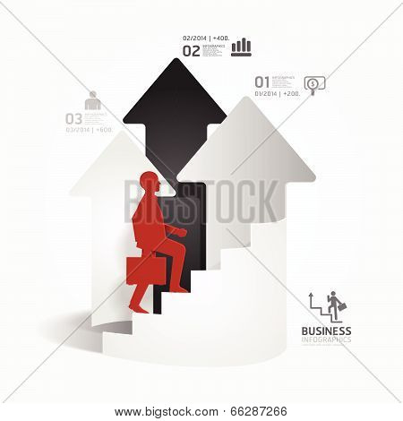 Businessman Up The Arrow Ladder Paper Cut Style Template  / Can Be Used For Infographics Graphic Or
