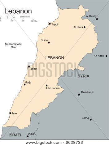 Lebanon, Major Cities and Capital and Surrounding Countries