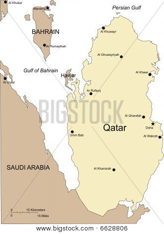 Qatar, Major Cities and Capital and Surrounding Countries
