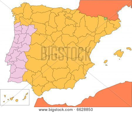 Spain and Portugal with Administrative Districts and Surrounding Countries