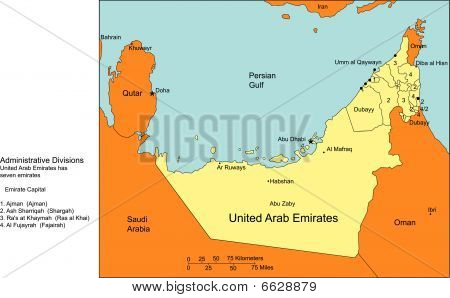 United Arab Emirates with Cities and Surrounding Countries