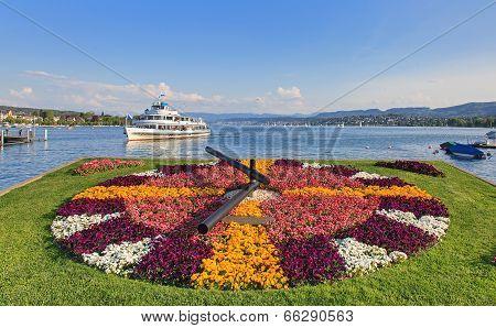 Limmat Ship Approaches Pier In Zurich