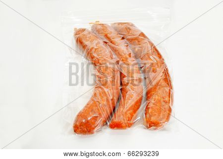 Three Hot And Spicy Sausage In A Storage Bag