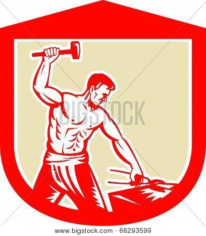 Blacksmith Striking Sledgehammer Anvil Shield Retro