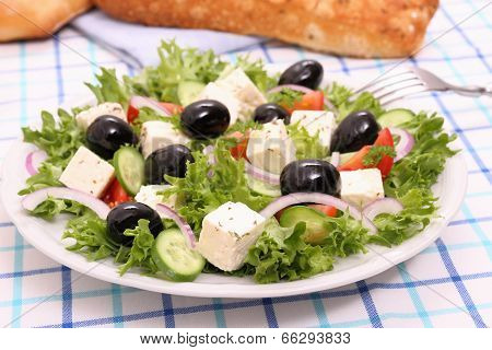 Greek Salad With Gigantic Black Olives, Sheeps Cheese, Bread