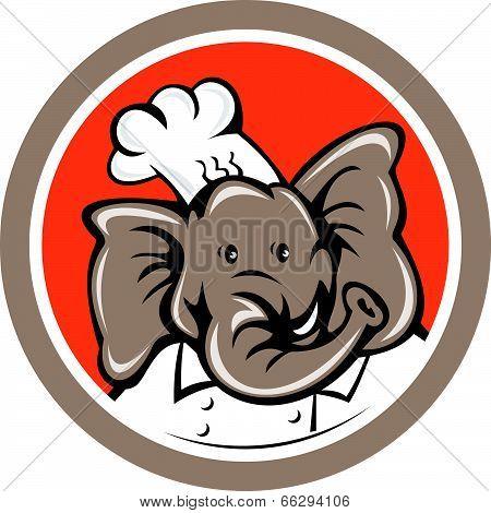 Elephant Chef Head Cartoon