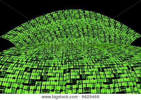 Green Circuit Board Or Information Super Highway Abstract Background
