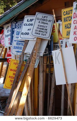 Ski resort signs