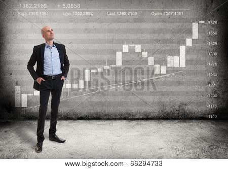 Business Man And A Growing Graph
