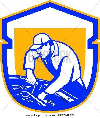 Auto Mechanic Automobile Car Repair Shield Retro