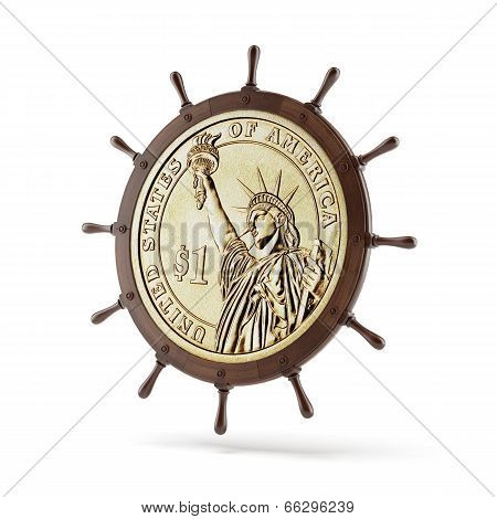 steering ship wheel  with dollar coin