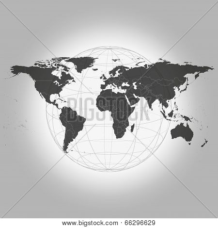 Black World Map Vector