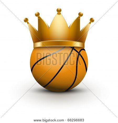 Basketball ball with royal crown