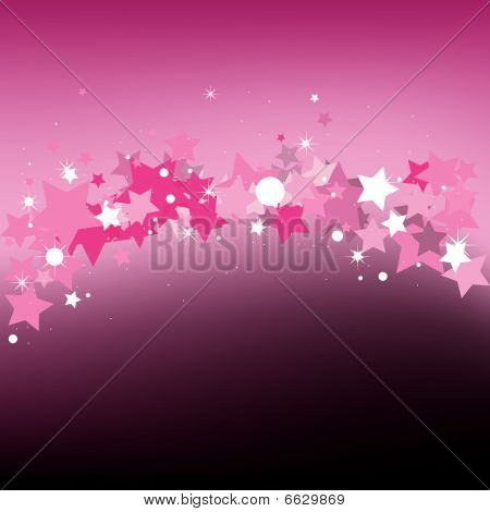 Pink background with stars. Vector Illustration