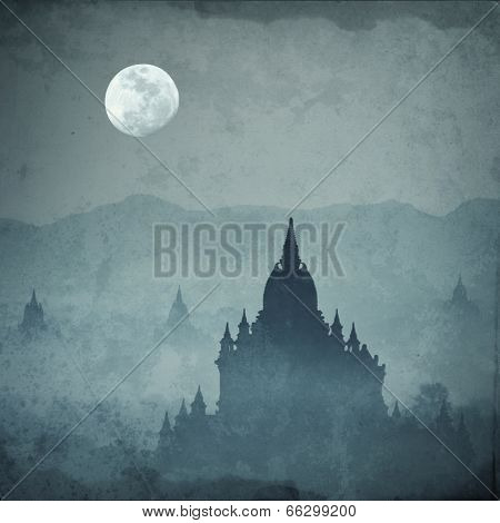 Amazing Castle Silhouette Under Moon At Mysterious Night. Fantasy Grunge Background In Vintage Style