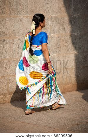 Indian Woman In Traditional Colorful Sari And Bangles