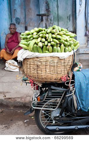 Indian men selling greengrocery at street market place