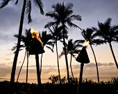 image of tiki  - Torches light the evening on the beach in Wailea on Maui - JPG