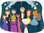 stock photo of night gown  - Illustration Featuring Teens Dressed Sharply for Prom Night - JPG