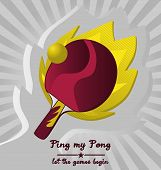 pic of ping pong  - Vector Ping Pong Emblem with Flame Background - JPG