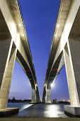 stock photo of leo  - Sunset at Brisbane Gateway Bridge Motorway  - JPG