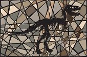 picture of dinosaur skeleton  - Mosaic illustration of the skeleton of a Tyrannosaurus rex dinosaur suggesting a fossil - JPG