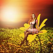 stock photo of pixie  - Beautiful sexy woman pixie sitting on a yellow flower at summer - JPG