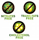 pic of trans  - Vivid diet icon set food intolerance such as Nitrates free trans fats free and cholesterol free - JPG