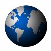 picture of planet earth  - 3d planet earth with grey continents over white background - JPG