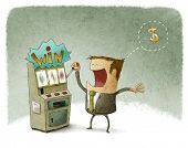 picture of slot-machine  - Illustration of a businessman gambling in slot machine - JPG