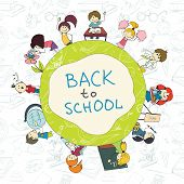 image of retort  - Decorative kids back to school round emblem poster with books pencils acessories background sketch doodle vector illustration - JPG
