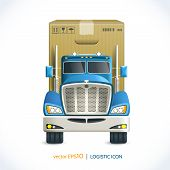stock photo of xxl  - Logistic shipping realistic heavy truck with carton box  isolated on white vector illustration - JPG