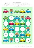 Постер, плакат: Picture sudoku puzzle with cars and bear mechanic
