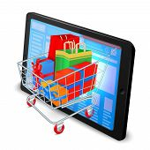 foto of supermarket  - Supermarket cart 3d with gift boxes in tablet computer internet shopping concept vector illustration - JPG