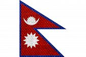 foto of nepali  - flag of Nepal or Nepali banner on linen background - JPG