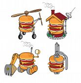 stock photo of grenades  - set of funny burgers as excavator - JPG