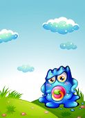 stock photo of hilltop  - Illustration of a baby blue monster at the hilltop - JPG