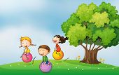 picture of bouncing  - Illustration of the three kids at the hilltop playing with the bouncing balls - JPG