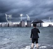stock photo of scourge  - business man holding an umbrella with thundershower background - JPG