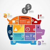 pic of jigsaw  - infographic Template with piggy bank jigsaw banner  - JPG