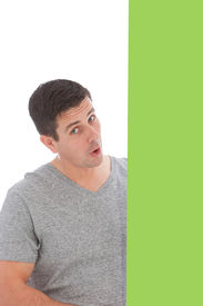 pic of sarcastic  - Man with Sarcastic Expression wearing gray top - JPG
