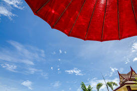stock photo of ozone layer  - Puffy clouds and blue sky in sunny day - JPG