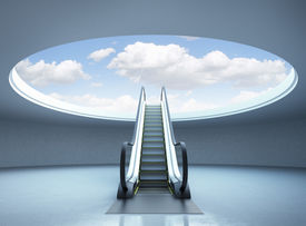 picture of stairway  - Escalator stairway to success - JPG